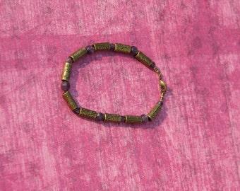 Amethyst and Brass filigree tube bracelet