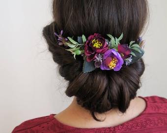 Floral hair comb, Back headpiece, Amaranth Flower headpiece, half wreath , Boho wedding accessory, Country wedding.