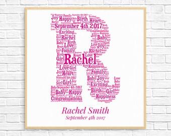 PERSONALIZED BABY GIRL Gift ~ Word Art ~ Printable Art ~ Unique New Baby gift ~ New Baby Girl ~ Baby Gifts ~ Digital Art Print