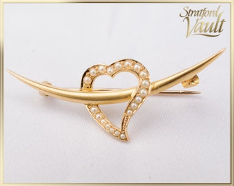 Antique ~ Art Nouveau ~ Heart Over Crescent Moon Pearl Pin ~ Bloomed 14k Yellow Gold ~ 20 Genuine Seed Pearls ~ STR_054 ~ 600.00
