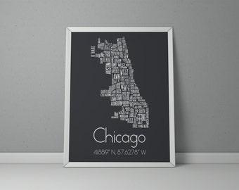 Chicago Typography, Chicago Map Art, Chicago Poster, Chicago Neighborhood, Chicago Art Print, Gray City Poster, Chicago Wall Art, City Print