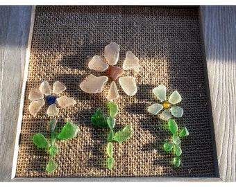 Beach Glass Flower Garden