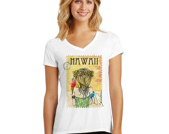 Birds Wahine, V-neck T-shirt , exclusive design – handmade in Hawaii