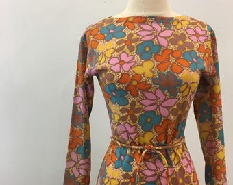 Graphic floral dress * Vintage 1960s colorful shift * 60s sheer polyester dress