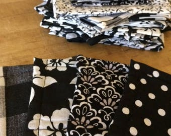 Black and White Cloth Napkins + Coordinating Urban UnSponges, Set of 8, by CHOW with ME