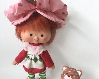 Vintage Strawberry Shortcake Doll with Custard Pet Kitty Cat