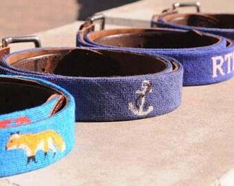 Custom Needlepoint Belt / Custom Belts / Custom Belt / Personalized Belt  / Needlepoint Custom Belts  / Custom Gifts for Men / custom