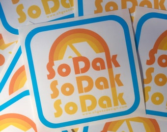 South Dakota Sticker - So Dak Retro Sticker - South Dakota Vinyl Sticker - So Dak Vinyl Decal by Oh Geez Design