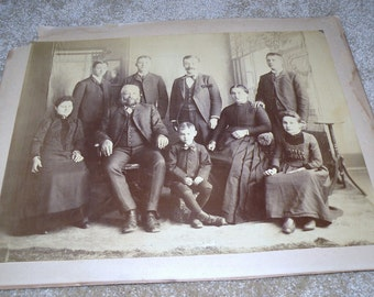 1880s Family Photograph may have been in Mourning 12 X 16 Original