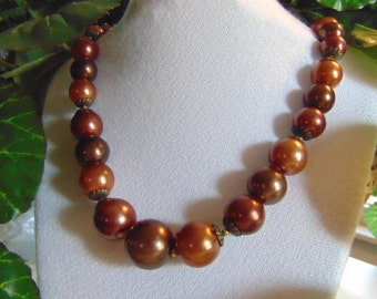 Vintage 50's, Brown, Beaded Necklace, Shipping Included