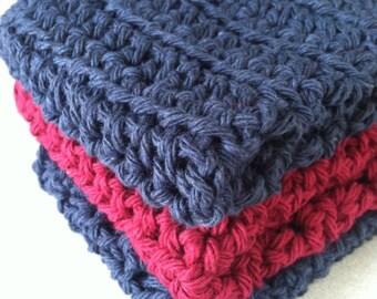 crochet cotton dishcloths washcloth  trio set of three