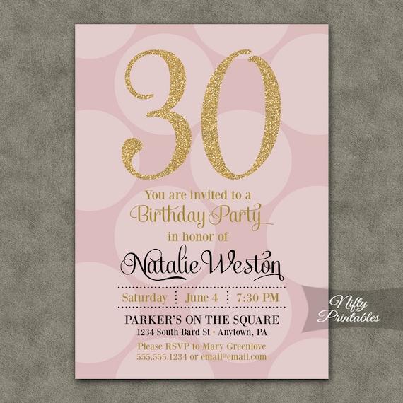 30th birthday invitations pink gold thirtieth birthday filmwisefo
