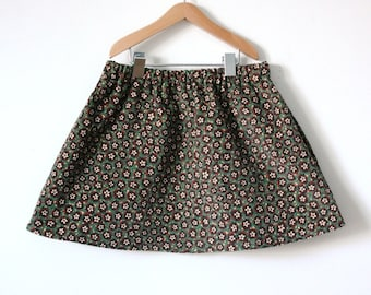 GIRLS SKIRT / 2T / tiny floral / vintage corduroy cotton