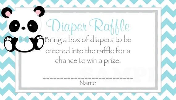 Teal Chevron Baby Boy Panda Baby Shower Diaper Raffle Ticket