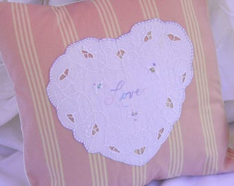 Farmhouse Pillow- Lace Pillow- Vintage Pillow- Shabby Chic Pillow- Heart Pillow- Shabby Chic Throw Pillow- Farmhouse Decor
