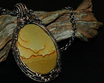 Picture Jasper Wire Wrapped Pendant, Desert Landscape, Hand Hammered Hook & Eye Closure, Stone Cabochon Pendant Necklace