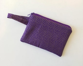 purple earbud case, zipper pouch, Minimalist pocket wallet, Change purse, cash wallet mini zipper pouch, wallet for mom, Padded gold bag