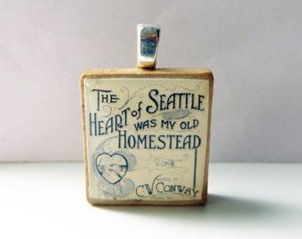 The Queen City March  - vintage Seattle sheet music Scrabble tile pendant