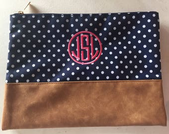 Monogrammed Bag | Monogram Gift | Zippered Pouch | Cosmetic Bag | Toiletry Bag | Bridesmaid Gift | Bridal Party Gift | Make up Bag | Gift