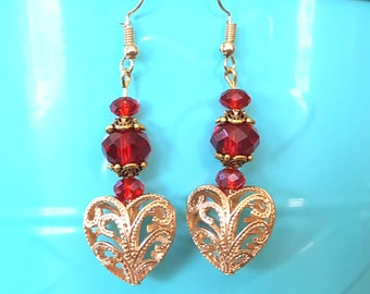 Red Drop Earrings, Heart Earrings, Valentine's Earrings, Drop Earrings, Valentine's Dangle Earrings, Come with Gift Box