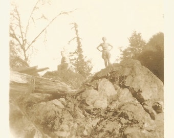 """Vintage Photo """"Head In The Clouds"""" Silhouette Of Woman Standing On Rocky Mountaintop Low Angle Found Vernacular Photo"""