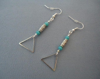 Silvery and turquoise earrings with beads and charms - Gypsy chic jewelry