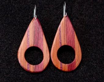Avocado Earrings, Cedar, Purple Heart