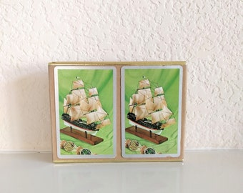 Vintage Congress playing cards double deck Nautical clipper ship model pirate boat green silver Cel-tone finish