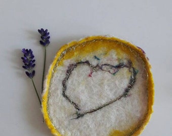 Golden yellow felted trinket dish - felted ring dish - felted trinket dish - ring dish - trinket dish - Mothers day gift