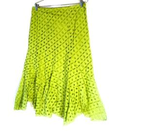 Vintage 90s Cotton Skirt, Green Color Skirt, Zashi New Old Stock