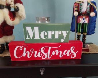 Merry Christmas blocks, Christmas decor, Mantle decorations