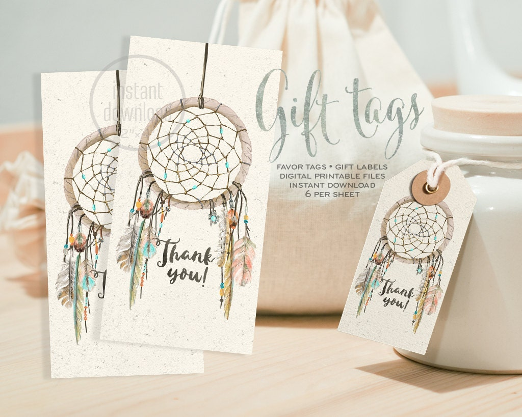 Dreamcatcher favor gift tag boho watercolor. DIGITAL files.