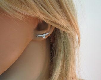 925 sterling silver ear cuff earrings, Bird earrings, ear climber earrings for women and girls, minimalist earrings