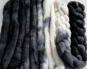 Hand dyed combed NZ Merino wool for felting and spinning - 100gr - graduate dyed - Monochrome Black to White