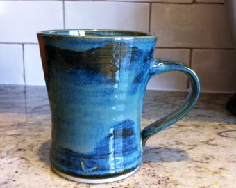 Pottery Coffee Mug in Midnight Sea Blue, Tea Mug, Handled Drinking Ceramic Mug, Teacup