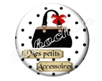 2 cabochons 20mm glass, bag accessory black and white polka dots