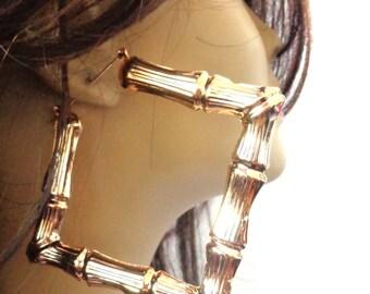 BAMBOO HOOP earrings square hoops 4 inch Hoop Gold Tone Bamboo Hoops Square Hoop Earrings
