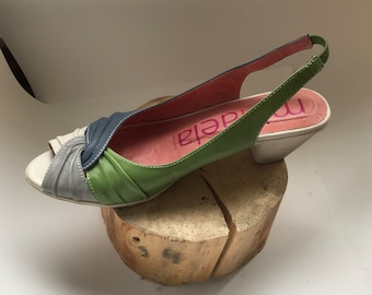 Sandals - made in spain - pumps - peep toe - leather - blue - green - grey - cream - size 38.