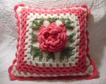 """Vintage Handmade  Crocheted Pillow with Large Flower-Pink & White 15"""" x 15"""""""