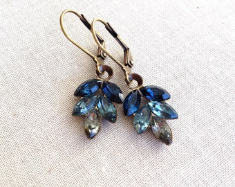 Blue gray ombré, Swarovski, rhinestone leaf earrings, ombré, gray, dusty blue, London blue, blue topaz, bridesmaid gift, ombre earrings