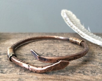 Adjustable Viking Snake Bangle - Mixed Metals Copper & Bronze Bracelet - Snake Charmer Ouroboros Ophiuchus Unisex 7th Anniversary Jewelry