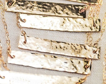 hammered plate necklace 14k gold filled,sterling silver / layer necklace /