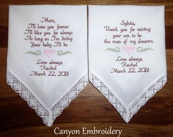Wedding Present for Mom Future Mother in-law Embroidered Wedding Handkerchiefs, Mother of the Bride & Mother of the Groom, Canyon Embroidery