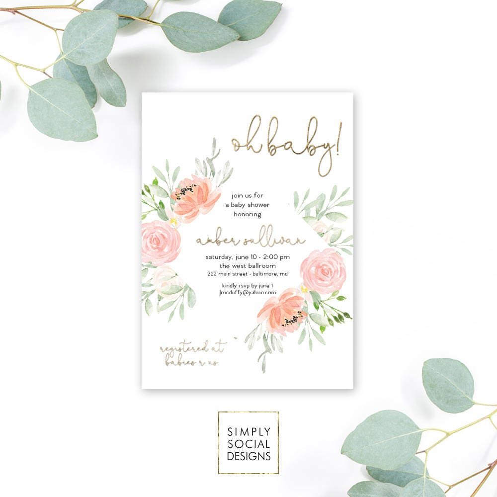 Pink Floral Baby Shower Invitation - Garden Shower - Oh Baby! Peony ...