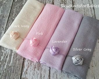 Newborn Headband and Wrap Set, Newborn Photo Prop, Rosette Headband, Baby Girl Headband and Wrap, Cotton Baby Wrap, Photography Props, RTS
