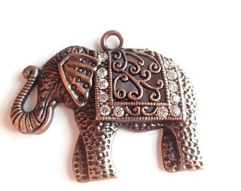 1 Pendant, Large Elephant, Jewelry Making Supply, Christmas Gift, Crytal Rhinestones & Antique Red Copper Color alloy Metal