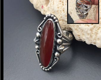 Red Stone Ring, Red Chalcedony Ring, Sterling Silver Carnelian Ring, Size 7 Silversmith Star Design Fancy Ring, Long Patriotic Bohemian Ring