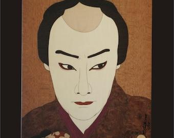 Wall Decor, Kabuki Actor Woodblock Inlay.