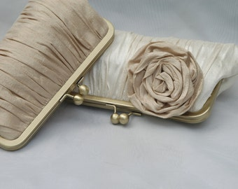 Wedding Clutch, Champagne Clutch, Bridal Clutch, Bridesmaid Purse, Formal Bag (CHOOSE YOUR COLORS)  {Gathered Kisslock w/ Rose}