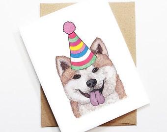 Birthday Card - Akita, Dog Birthday Card, Cute Birthday Card, Dog Card, Bday Card, Kids Birthday Card, Friend Birthday Card